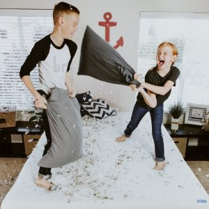 Children pillow fight